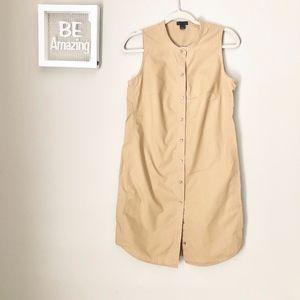 J. Crew Button Up Sleeveless Tan Khaki Dress